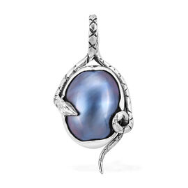 Designer Inspired- Very Rare Size Peacock Mabe Pearl Snake Inspired Pendant in Sterling Silver 10.00