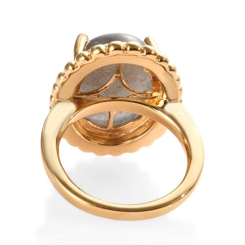 100% Natural Fire Labradorite (Ovl 16x12 mm) Solitaire Ring in 14K Gold Overlay Sterling Silver 9.75 Ct, Silver wt 6.50 Gms