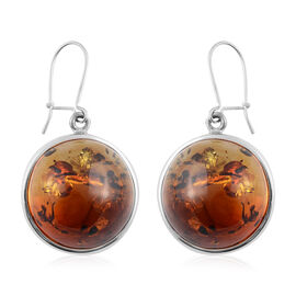 Baltic Amber Fish Hook Drop Earrings in Silver 7.50 Grams