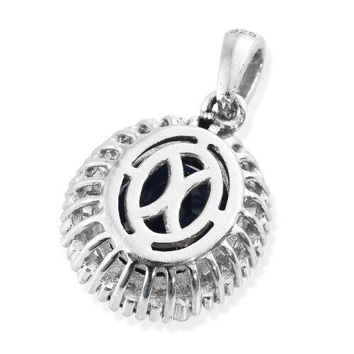 Premium Collection - Designer Inspired Rare Size Masoala Sapphire (Ovl 11x9 mm), Diamond Pendant in Platinum Overlay Sterling Silver 4.750 Ct.
