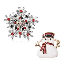 2 Piece Set - Multicolour Austrian Crystal (Rnd), Simulated Diamond Enamelled Snowflake and Snowman