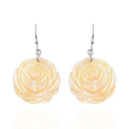 Carved Yellow Mother of Pearl Rose Floral Drop Earrings with Hook in Rhodium Plated Silver