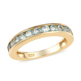 1 Ct Grandidierite Half Eternity Band Ring in 14K Gold Plated Sterling Silver
