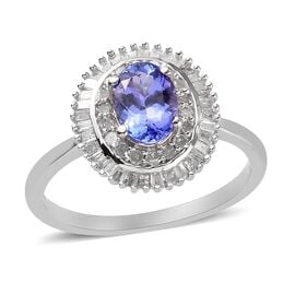 Premium Tanzanite and White Diamond Halo Ring in Platinum Overlay Sterling Silver 1.00 Ct.