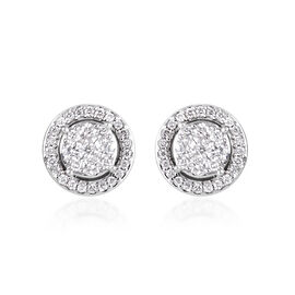 14K White Gold Diamond (Rnd) (I1-I2/G-H) Stud Earrings (with Push Back) 0.749 Ct.