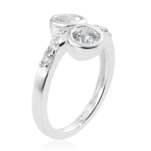 J Francis - Sterling Silver (Rnd) Crossover Ring Made with SWAROVSKI ZIRCONIA
