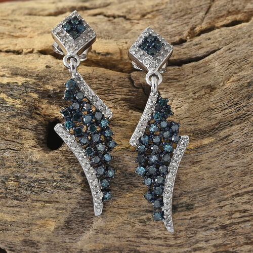 GP Kanchanaburi Blue Sapphire (Rnd), Diamond Dangle Earrings (with Push Back) in Platinum Overlay with Blue Plating Sterling Silver 1.050 Ct.