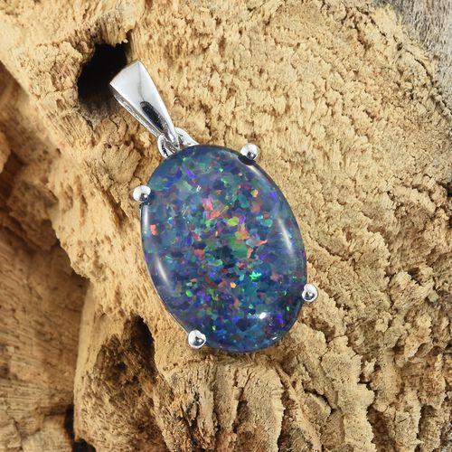 Australian Boulder Opal (Ovl 18X13 mm) Solitaire Pendant in Platinum Overlay Sterling Silver 6.750 Ct.