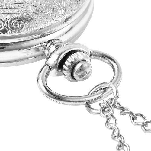 GENOA Automatic Mechanical Flower Pattern Pocket Watch with Chain in Silver Tone
