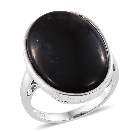Shungite (Ovl) Ring in Platinum Overlay Sterling Silver 17.500 Ct. Silver wt 5.23 Gms.