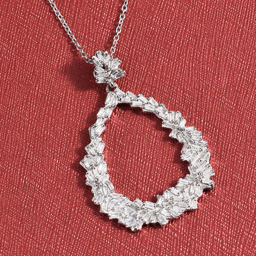 GP Diamond (Bgt), Kanchanaburi Blue Sapphire Pendant with Chain in Platinum Overlay Sterling Silver 0.530 Ct.