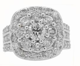 NY Close Out Deal-14K White Gold Diamond (I2 to I3 Clarity and G to H Colour) Cluster Ring 3.53 Ct,