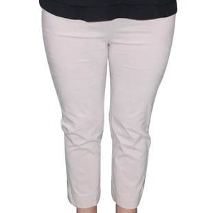 Emma Half Elasticated Comfortable Summer Trousers in WHITE
