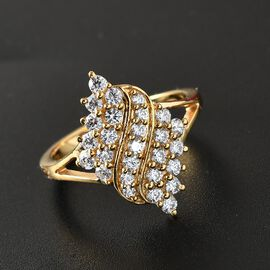 J Francis 14K Gold Overlay Sterling Silver Cluster Ring Made with SWAROVSKI ZIRCONIA 1.30 Ct.
