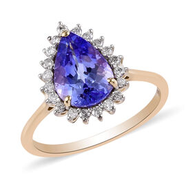 9K Yellow Gold Premium Tanzanite and Diamond Ring 2.00 Ct.