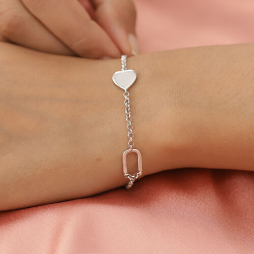 Personalise Two Alphabet + Heart, Name Bracelet in Silver, Size - 7.5 Inch