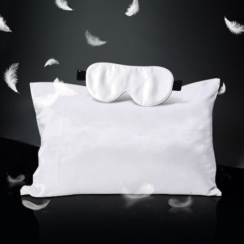 100% Mulberry Silk Hyaluronic Acid and Argan Oil Infused Ivory Pillowcase (Size 50x75cm) and Eye Mas