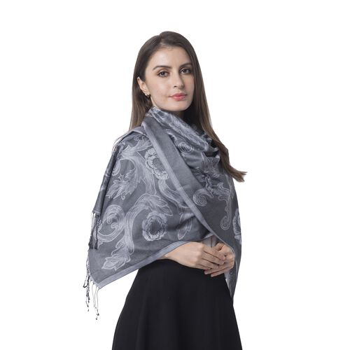 Black Colour Scarf with Flower Pattern and Tassels (Size 180x70 Cm)