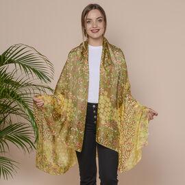 Yellow Flower Pattern 100% Mulberry Silk Scarf (Size 175x110 Cm)