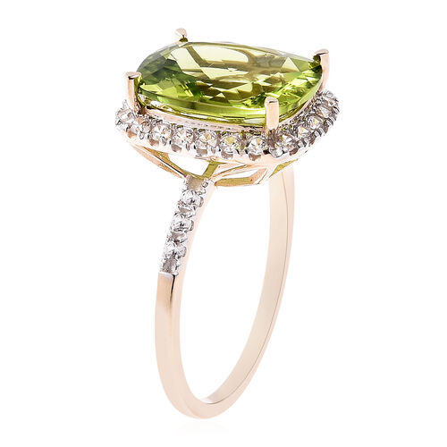 Extremely Rare Size AAA Hebei Peridot (Cush 12x10) in 9K Yellow Gold with Natural Cambodian Zircon Ring 5.81 Ct.