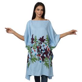 Floral printed Kaftan with Waist Belt (Size S- XXL / 91x105cm) - Blue