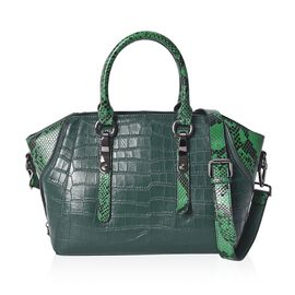 100% Genuine Leather Croc Embossed Tote Bag with Detachable Shoulder Strap (Size 29x12x22 Cm) - Gree