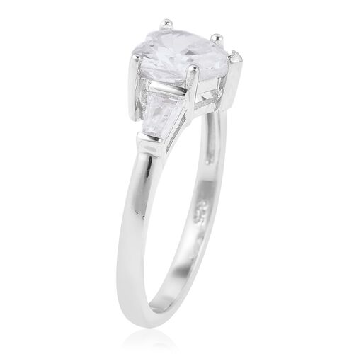 ELANZA Simulated White Diamond (Hrt) Ring in Rhodium Overlay Sterling Silver