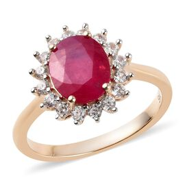 2.75 Ct AAA African Ruby and Zircon Halo Ring in 9K Yellow Gold 2.49 Grams