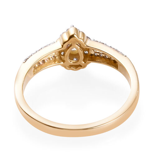 9K Yellow Gold Natural Yellow Diamond and White Diamond Ring 0.50 Ct.