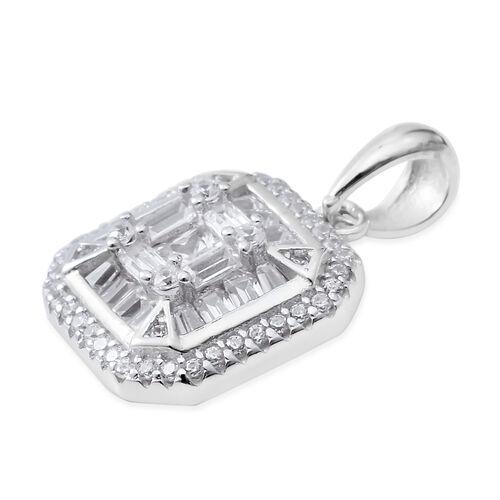 ELANZA Simulated Diamond (Bgt) Square Pendant in Rhodium Overlay Sterling Silver