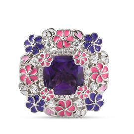 GP Italian garden Leaf & Flower Collection - Lusaka Amethyst and Natural Cambodian Zircon and Multi