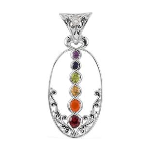 Sajen Silver GEM HEALING Collection - Carnelian, Peridot and Multi Gemstone Enamelled Pendant in Rho