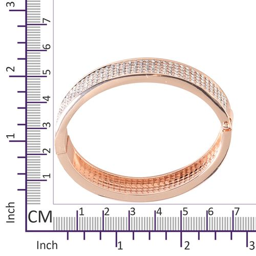 Designer Inspired- Austrian White Crystal Bangle (Size 7.5 ) in Rose Gold Plated