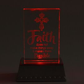 Faith Does Not Make Things Easy, It Makes Them Possible Colour Changing LED Crystal Desk Decor (3AAA