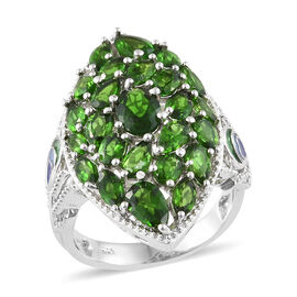 Russian Diopside Cluster Ring in Platinum Plated Sterling Silver 8.09 Grams