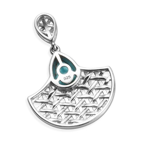 Arizona Sleeping Beauty Turquoise Pendant in Platinum Overlay Sterling Silver 1.25 Ct.