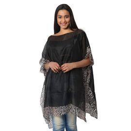 100% Mulberry Silk Kaftan One Size (90x100 Cm) - Black