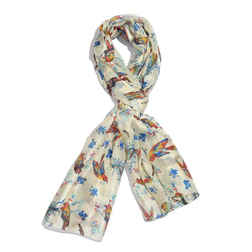 100% Mulberry Silk Blue, White and Multi Colour Handscreen Flying Birds Printed Scarf (Size 200X180