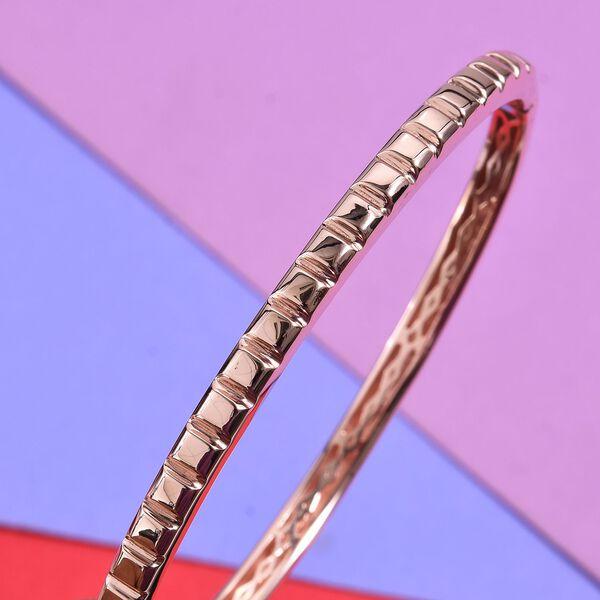 Designer Inspired- Rose Gold Overlay Sterling Silver Bangle (Size 7.5) - 19.20Gms