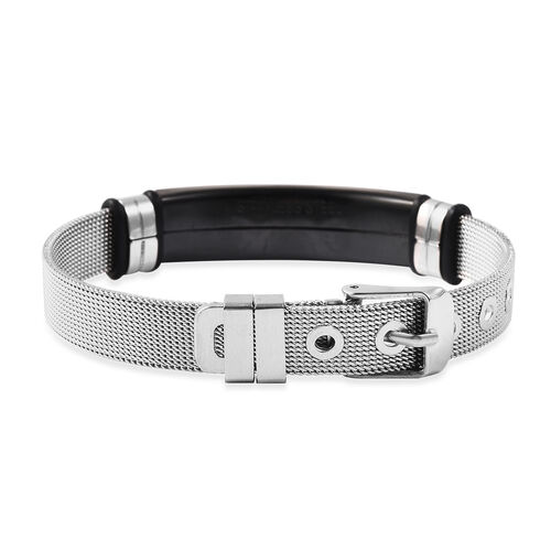 Cross Mens Bracelet (Size 6.5-8.5) with Mesh Chain in Black and Silver Plated Stainless Steel