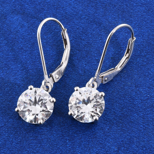 J Francis - Platinum Overlay Sterling Silver Lever Back Earrings Made with SWAROVSKI ZIRCONIA