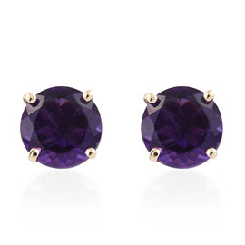 9K Yellow Gold AA Amethyst (Rnd) Stud Earrings (with Push Back) 3.500 Ct.