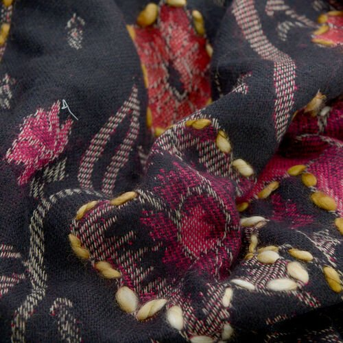 Hand Embroidered Adda Work - Floral Pattern Black and Multi Colour Lily Kimono (One Size)