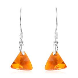 J Francis - Crystal From Swarovski Tangerine Crystal Hook Earrings in Sterling Silver