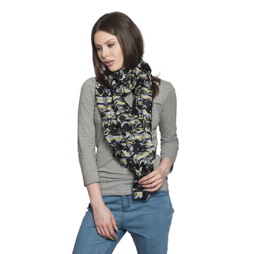 100% Mulberry Silk Black, White, Yellow and Multi Colour Floral Contour Printed Scarf (Size 180x100