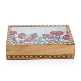 Flower Pattern Wooden and Multi Colour Jewellery Box (Size 8.26x6.29x2 Cm)