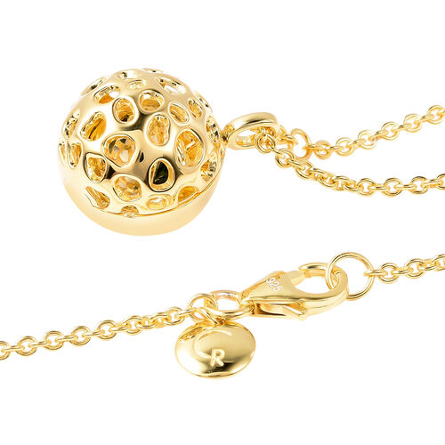 RACHEL GALLEY Russian Diopside Lattice Globe Pendant with Chain (Size 20 with Extender) in Yellow Gold Overlay Sterling Silver, Silver wt 10.00 Gms