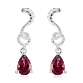 Orissa Rose Garnet Dangle Earrings (with Push Back) in Sterling Silver 1.75 Ct.