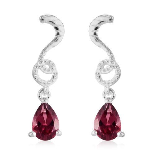 Orissa Rose Garnet Dangle Earrings (with Push Back) in Sterling Silver 1.75 Ct.