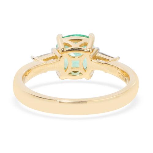 ILIANA 18K Yellow Gold AAA Boyaca Colombian Emerald (Cush) Diamond (SI/G-H) Ring 1.710 Ct.